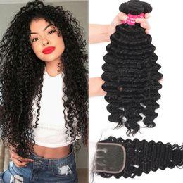 Discount kinky curly human hair - 9A Brazilian Deep Wave Virgin Hair 3 Bundles With Closure 100% Unprocessed Peruvian Deep Wave Kinky Curly Loose Deep Bod