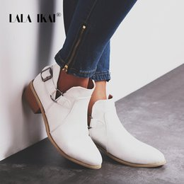 Shoes Metal Print NZ - LALA IKAI Women PU Leather Slip-On Shoes Metal Buckle Decoration Pointed Toe Autumn Retro Short Heeled Shoes 014C2298-4