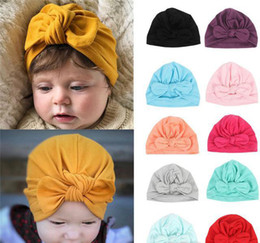 Hat Boy NZ - New Baby Cute Hat Knotted Rabbit Ears Model Cotton Cap Headwear for girl and boy baby 13colors