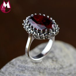 Wedding ring red gemstone online shopping - Natural Red Garnet Gemstone Rings For Women Sterling Silver Wedding Rings Fine Jewelry Gifts Vintage Ruby Red Stone Sr52 J190524