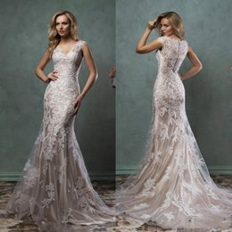 Amelia Sposa Cap Sleeve Australia - 2019 Lace Mermaid Wedding Dresses Illusion Bridal Gowns With V Sheer Back Covered Button Ivory Nude Court Train Amelia Sposa Custom Made