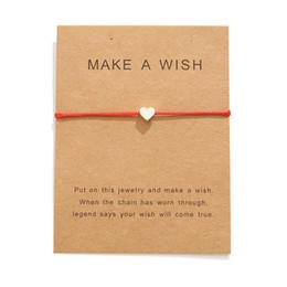 $enCountryForm.capitalKeyWord Australia - Hot Sale Make A Wish Card Bracelets Fashion Red Rope Handmade Woven Bracelet Silver Plated Heart Charm Bracelet For Women Men