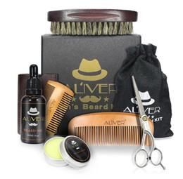 Vente en gros ALIVER Barbe Barbe Huile Bio Naturel Baume de cire Ciseaux Brosse Produits cheveux après-shampoing pour les gla Hydrater Barbe avec boîte au détail