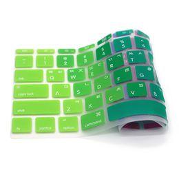 Books Spanish Australia - US Anti-dust Ultra-thin Rainbow Silicone Spanish Keyboard Cover Keypad Skin Protector For Mac Book Air 11.6 inch A1370 A1465