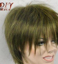 $enCountryForm.capitalKeyWord Australia - WBY dd002172 Natural Women Dark Green Short Straight Wig Heat Cos Party Full Hair 2-6138-2C
