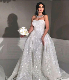 $enCountryForm.capitalKeyWord Australia - Arabic Dubai 2019 New Sparkly White Sequined Mermaid Wedding Dresses Glitter Strapless Detachable Train Bridal Gowns Plus Size Custom Made