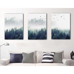 giclee print canvas paintings Australia - 3 Pieces Forest Landscape Picture Wall Art Canvas Painting for Kitchen Bathroom Wall Decor Tree Poster Giclee Print Dropshipping T200608