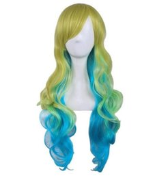 yellow curly hair UK - European and American fashion wig long curly hair female anime shake dragon Lu Keya gradient yellow blue green foreign trade hot models
