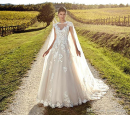 garden wedding dresses wrap NZ - 2020 Light Champagne Elegant Capped Sleeves Wedding Dresses Sheer Neck Backless Tulle Lace Bride Gowns With Wrap Beach Garden Wedding Gowns