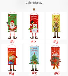Store window decorationS online shopping - Christmas Decoration flags Creative Hang Flag Santa Snowman Cloth Window Wall Pendant Xmas Christmas Decorations for Home Store W95095