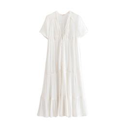 $enCountryForm.capitalKeyWord NZ - V-Neck Patchwork Lace Dress Embroidery cotton White Maxi Bohemian Holiday Dresses Short Sleeve Boho Summer Dress Women Casual Beach Dress