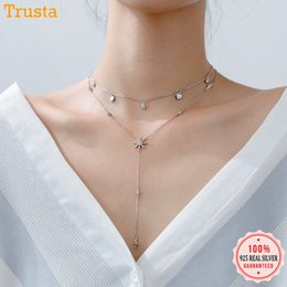 Plastic Red Heart Australia - Trusta 100% 925 Sterling Silver Jewelry Hearts snow Flower Cz Stones Pendant Choker 925 Necklace For Women Girl Gift Ds1343 J190526