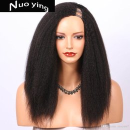 Italian Wave Hair Australia - Kinky Straight U Part Wig Human Hair Wigs Brazilian Remy Hair 150 Density Italian Yaki Left Part Wigs Full End Human Lace Hair
