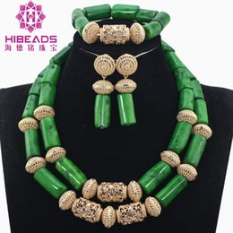 Red Coral Beads Set Australia - Smart Green Nigerian Wedding Coral Beads Jewelry Set Dubai Gold African Bridal Jewelry Sets for Women CG004 C18122701