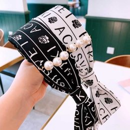 $enCountryForm.capitalKeyWord Australia - Korea Fashion Letters Pattern Hairband Headband Black White Ribbon Headwear Women Girl Chic Hair Jewelry Accessories Support Mix