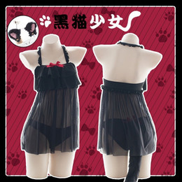 Wholesale sexy tails cosplay for sale – halloween Sexy Lingerie Cat Cosplay Costume Hot Black Women Erotic Lace with Cute Bow Adorable Kitty Sleepwear Uniform Tail underwear