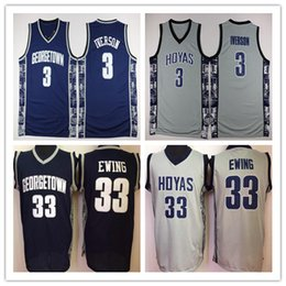 e74fb1bfd University Georgetown Hoyas Basketball Jerseys Men 33 Patrick Ewing Allen  Iverson 100% Stitched College Basketball Jersey Uniform