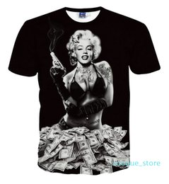 Discount cool t shirt graphics Newest Styles Vogue T Shirts Sexy Marilyn Monroe T-shirt for Men Women Clothing 3D Print Cool Skull T-shirt Graphic Tee