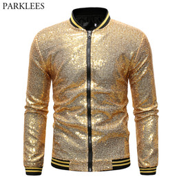 $enCountryForm.capitalKeyWord NZ - Mens Shiny Gold Sequin Jackets and Coats 2019 Brand New Sequins Baseball Jacket Men Club DJ Stage Singer Jacket Veste Homme XXL