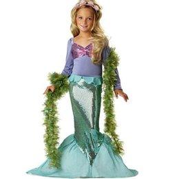 mermaid carnival costumes 2019 - New Girls Mermaid Dresses With Pearl Children Halloween Little Mermaid Ariel Cosplay Costumes For Kids Carnival Party Dr
