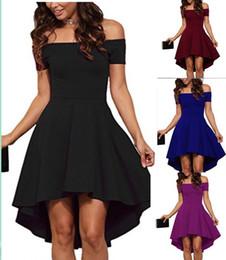 Vintage 2019 Mujeres Sexy Cuello Slash Vestido de fiesta en color liso  Otoño Nueva moda A-Line negro Vino tinto Hasta la rodilla vestidos f057d6e14065