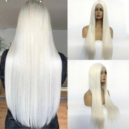 cosplay white lace front wig NZ - White Silky Straight Wig 150%Density Synthetic Lace Front Wigs for Black White Women Glueless #60 Synthetic Hair Wig Daily Cosplay Party Wig