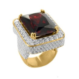 $enCountryForm.capitalKeyWord Australia - 2017 High Quality Jewelry Wholesale Promotion Red Green Black Big Stone Gold Silver Colors Hip Hop Bling Mens Micro Pave Ring C19041203