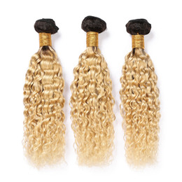 Ombre dyed weave online shopping - Ombre Blonde Water Wave Malaysian Virgin Hair Wefts B Bleach Blonde Ombre Human Hair Weave Bundles Wet and Wavy Hair Extensions