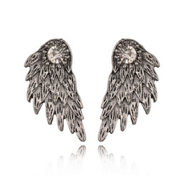 $enCountryForm.capitalKeyWord UK - New Gothic Silver Color Angel Wings Alloy Stud Earrings Cool Black Feather Earrings for Women Men Fashion Jewelry E1025