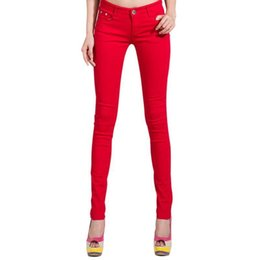 Black Jeans Red UK - Wholesale- Pop Autumn Fashion Pencil Jeans Woman Candy Colored Mid Waist Full Length Zipper Slim Fit Skinny Women Pants