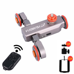 Car Lights Australia - Freeshipping L4 Motorized Dolly Wireless Remote Control Wheel Pulley Car Rail Track Dolly Slider for iPhone DSLR Camera Smart Phone