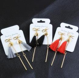 $enCountryForm.capitalKeyWord NZ - E0222 Long Gold-color Tassel Earrings Sweet Cute Bow Knot Drop Earrings For Women Fashion Jewelry 2017 HOT SALE Bijoux Girl Gift