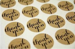 envelope sticker seals Australia - Free Shipping Hot 'Thank You' Typeface Brown Kraft Stickers For Envelopes Card Bag sealing sticker Kraft seal sticker