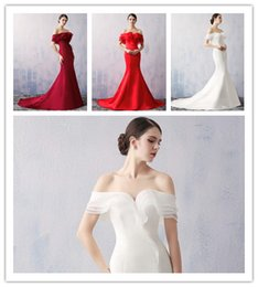 purple stock special occasion dresses UK - Off-Shoulder Satin Long Mermaid In Stock Special Occasion Dresses Cheap FormalLace-up Ivory Red Party Evening Dress