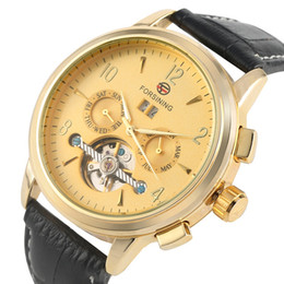$enCountryForm.capitalKeyWord Australia - Distinctive Tourbillon Automatic Mechanical Watch Large Golden Dial Comfortable Leather Band Wristwatch with Calendar Design for Men