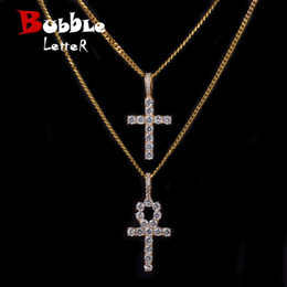 $enCountryForm.capitalKeyWord Australia - Iced Zircon Ankh Cross Necklace Set Gold Silver Copper Material Bling Cz Key To Life Egypt Cross Necklace Hip Hop Jewelry GMX190711