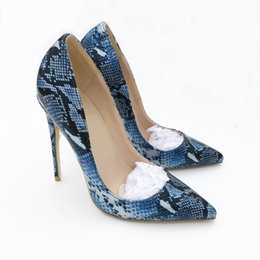 Chinese  Free Shipping women lady woman 2019ss blue python snake Leather Poined Toes Wedding heels Stiletto High Heels shoes pumps sandals boots 10cm manufacturers