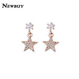 81d7bac21 NEWBUY Hot Sale Star Stud Earrings For Women Silver Rose Gold Color Clear CZ  Earring Female Party Jewelry Bijoux femme