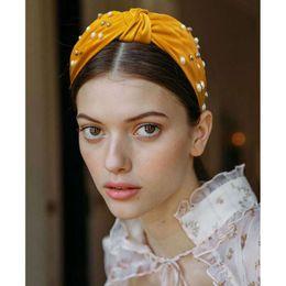 Headbands Bow Australia - wide bow pearls headbands for women luxury pearl cloth headband bohemian holiday hair jewelry 5 colors yellow black dark blue pink gray