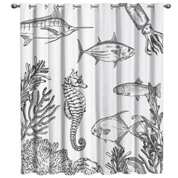 curtain painting Australia - Hand-Painted Sea Life Pattern Seahorse Squid Fish Window Treatments Curtains Valance Window Curtains Dark Blackout Bedroom