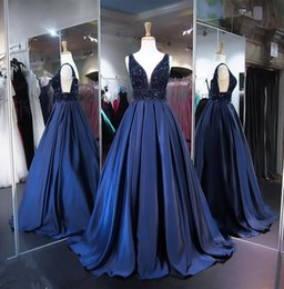 Beading Charms Australia - Sexy Deep V-neck Backless Prom Dresses With Shining Crystal Beading Elegant Navy Blue Evening Dress Charming Formal Evening Party Gowns