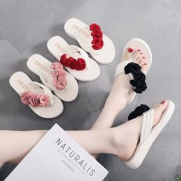 flat fabric shoes wholesale UK - 6 Cm High Heel Women's Summer New Elastic Cloth with Wedge Heel Sandals Muffins Slippers Slippers Flannel Flowers House Shoes