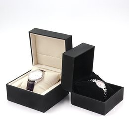 $enCountryForm.capitalKeyWord NZ - Luxury Black Pu Sewing Watch Box Original Box Papers Card Purse Gift Boxes Watches Factory Outlet Wholesale Custom Jewelry Gift Box