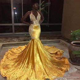 8a3da94e476 2019 Yellow Velvet Long Mermaid Prom Dresses Black Girls  Halter Lace  Appliques Backless Sweep Train Evening Gowns BC0829