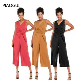$enCountryForm.capitalKeyWord NZ - 2019 Summer Women Loose V-neck Solid Color Female Jumpsuit Casual Jumpsuit Light And Breathable Chiffon Loose Wide Leg Overalls
