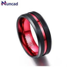 Tungsten Wedding Rings Australia - Nuncad 8mm Wide Never Fade Tungsten Steel Rings With Single Groove Red Men's Engagement Wedding Band Ring J 190515