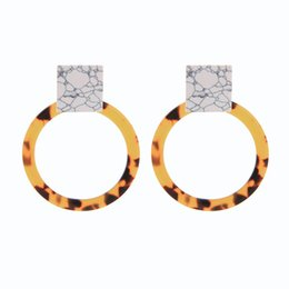 Accessories ruby stone online shopping - Texture Synthetic Stone Leopard Pattern Acrylic Round Sheet Drop Earrings For Women Gifts Fashion Accessories