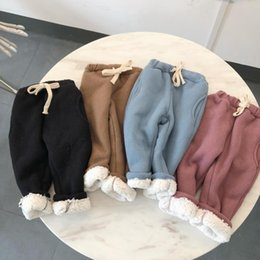 Toddler Pants Tutu Australia - Toddler Girl Pants Elastic Solid Casual Kids Thicken Cotton Trousers 1-6Y Children Baby Boys Autumn Winter