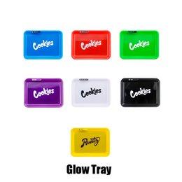 venda por atacado Em armazém cookies Runtz Califórnia Glowtray Azul Vermelho Amarelo Verde LED Bandeja Do Rolling brilho para a Rolling 420 Dry Erva Flor Com Box