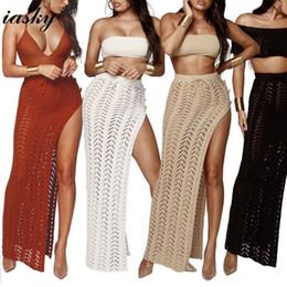 08fe4a59d6a65 Iasky 2018 New Crochet High Split Beach Long Skirt Sexy Women Hollow Out  Bikini Swimsuit Cover Ups Beachwear Cover Up 4 Colors Y19060301